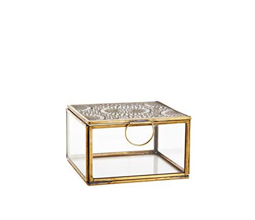 Glasbox mit Ornament und Deckel aus Metall in Gold, Vintage Look im marrokanischen Design, Maße 12x12cm
