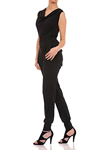 Laeticia Dreams Damen Jumpsuit Catsuit Einteiler Hose Wasserfall Overall S M L XL, Farbe:Schwarz;Größe:38