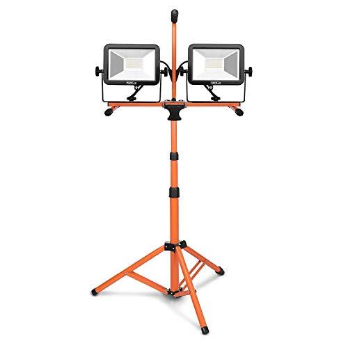 LED Baustrahler, Tacklife LWL3A 40W Arbeitsstrahler(2 x 20W LED Baustrahler, 3600LM, 5000K Helligkeit, Teleskophalterung, Drehbarer Baustrahler, Lebensdauer> 50000h)