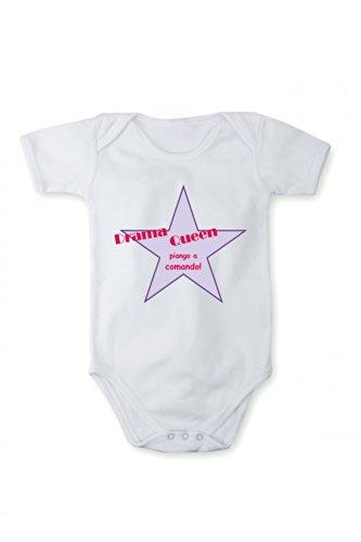 Strampler mit Druck Baby Body Drama Queen In verschiedenen Sprachen, Größe:86;Farbe/Sprache:Weiß Text Italienisch