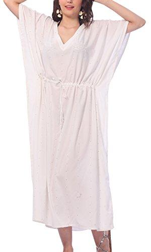 La Leela Rayon leichten tiefen Hals 5 in 1 Badeanzug Badebekleidung Bikini Strandparty verschleiern Nachtzeug beiläufiges Kleid Tunika Top-Nachtkleid kurz Kaftan Frauen bestickt Maxi Beige