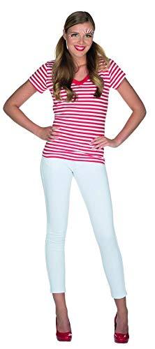 Rubie's Damen Ringelshirt V-Ausschnitt rot-weiß Gr. 34-48 Neptunfest Karneval Streifen-Shirt klassisch (38/40)