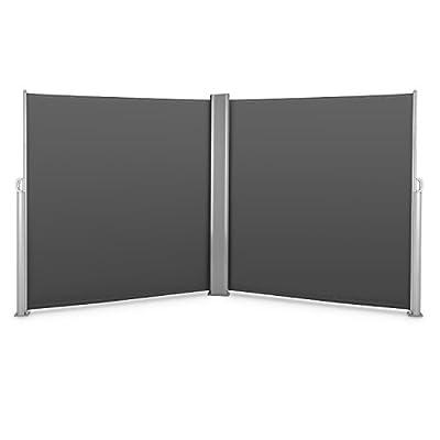 Blumfeldt Bari Doppio 620 Doppel-Seitenmarkise Standmarkise Seitenrollo Sichtschutz Sonnenschutz Polyester pro Seite 300 x 200 cm ausziehbar UV-beständig selbstspannend Aluminium-Doppelgehäuse pulverbeschichtet anthrazit von Blumfeldt - Gartenmöbel von