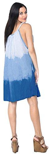 La Leela Hand tie dye leichte Rayon Strandbadebekleidung Bikini geselligen Abend Riemchen kurzen Kleid ärmellos verschleiern Amazon Blau