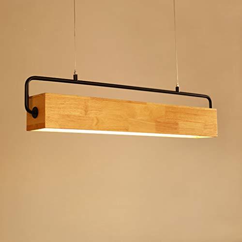 WYNA LED Holz Rechteckige Pendelleuchte, Nordic Einfache Kunst Kreative Massivholz Kronleuchter, Esszimmer Studie Wohnzimmer Dekorative Beleuchtung,Warm,90CM