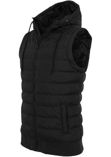 URBAN CLASSICS-Felpa da uomo con cappuccio-gilet-gilet trapuntato-Giacca invernale da ottico donna con cappuccio nero Medium