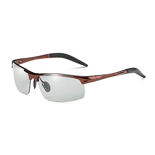 GXM-SG Tag und Nacht Sonnenbrillen mit doppeltem Verwendungszweck, intelligente Sonnenbrillen mit Farbwechsel, blendfreie UV400-Schutzbrillen, Driving Fishing Golf-Brillen,Bbronzeframe