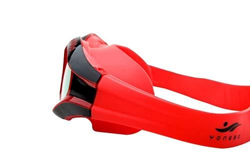 MRFENG Schwimmbrillen für Erwachsene Kinder,Schutzbrille flaches Licht HD Anti-Fog-wasserdichte Herren- und Damenbrille mit großem Rahmen für Erwachsene, rot