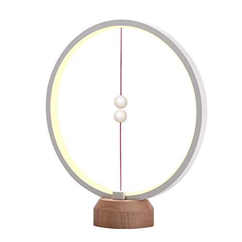 Runde Ring heng Balance Lampe - elliptische magnetische Midair Switch USB Wiederaufladbar LED-Licht, Schreibtischlampe Tischlampe,Natürlicher Massivholz Anti-Rutsch-Lampenfuß Aluminium Lampenfassung
