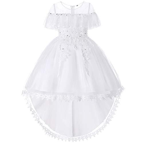 7660619e1aa2 FRAUIT Vestito da Ragazza Festa in Pizzo per Bambini Abito da Sposa  Principessa Vestito Davanti Corto