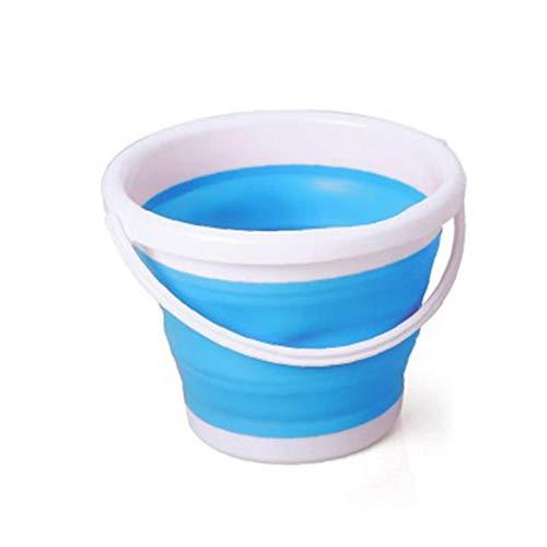 MICHAELA BLAKE Falteimer Falteimer Plastikeimer Multi Purpose Bucket für Kletter-Touren Reisen Picknick Sandstrand Blauer Würfel für Kinder