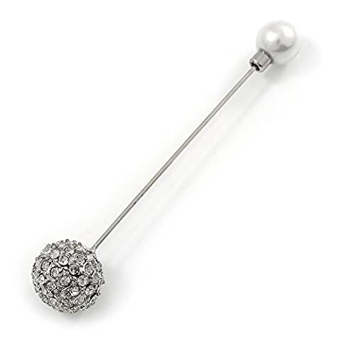 Vintage Inspired Crystal Ball, Pearl Lapel, Hat, Suit, Tuxedo, Collar, Scarf, Coat Stick Brooch Pin In Silver Tone Metal - 85mm L