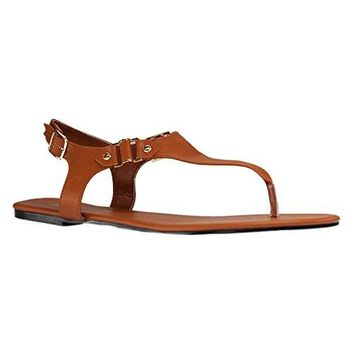 12d9da7cdeadd1 ANDRÉS MACHADO Damen Sandalen Braun Schuhe in Übergrößen Braun