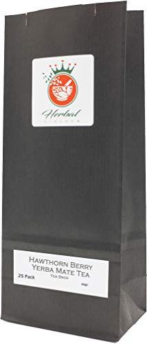 Bacche di Biancospino Biologico e Yerba Mate Bustine di Tè alle Erbe (confezione da 25 - non sbiancate)