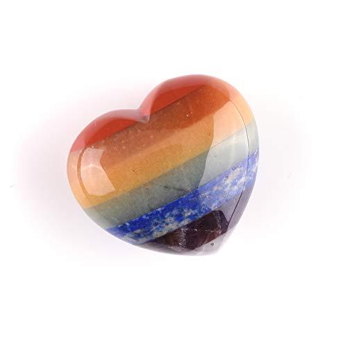 Crystaltears set di pietre preziose e naturali 7 pcs gemma chakra e un pietra multicolore a forma di cuore portafortuna
