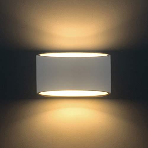 Wandleuchten LED Innen Moderne Wandbeleuchtung Mit 5W LED G9 Cap Typ Natürliche Umweltschutz Gips Material Wandlampe warmweiß (Runde)