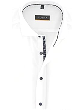 Eterna Herren Hemd Baumwoll Hemd Baumwollhemd Business Herrenhemd Kurzarm Slim Fit Weiß