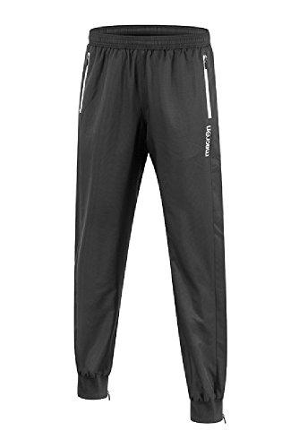 CHEMAGLIETTE! Pantalone Tuta Microfibra da Ginnastica con Fondo Stretto Macron Ibis Calcio, Colore: Nero, Taglia: S
