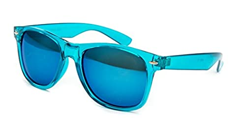 EL-Sunprotect® Sonnenbrille Nerdbrille Brille Nerd Transparent Türkis Blau Glas UV400