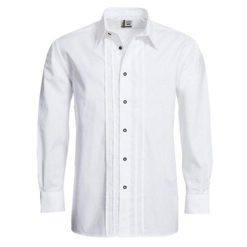 Trachtenhemd Josef Regular Fit mit Biesen in weiß von Schweighart, Farbe:Weiß, Halsumfang:39