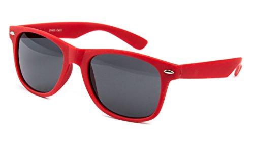 Nerd Sonnenbrille Wayfarer Stil Brille Pilotenbrille Vintage Look Rot Gummiert Matt NRR