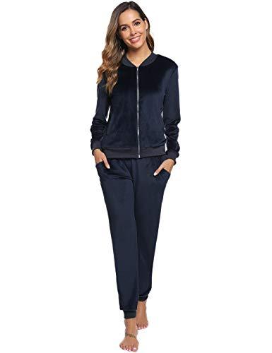 Abollria Damen Velours Trainingsanzug 2 Teiler Nicky Hausanzug Kuschlig Jogginganzug Sportliche Zip Jacke mit Stehkragen+Hose mit Kordelzug und Taschen,Navyblau,XL
