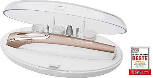 ProfiCare MPS 3016 - Set de pedicura y manicura eléctrico portátil con 6 accesorios, blanco