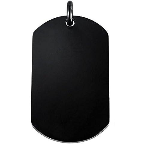 2C - acciaio inox Anh ŠBorraccia F Ÿr collana Dog-tag Nero Army con possibilità di incisione rettangolare 11