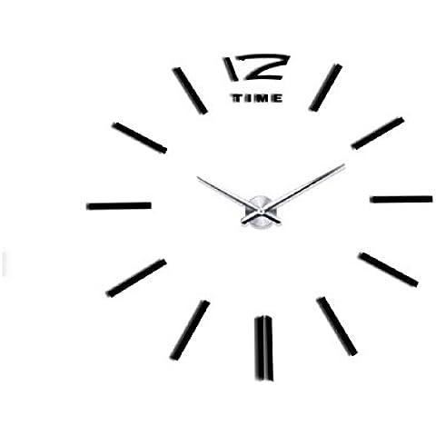 Malloom® reloj de pared adhesivo,Lujo DIY 3D Decoración del hogar etiquetas engomadas frescas espejo (negro)