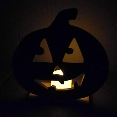 YWLINK Halloween KüRbis Skelett Katze HöLzerne Lampe,DIY LED Teelichte Vintage Halloween-Party Dekorative Lampe FüR Party, Weihnachten, Ostern, Als Stimmungslicht(C,15x15.2x5cm)