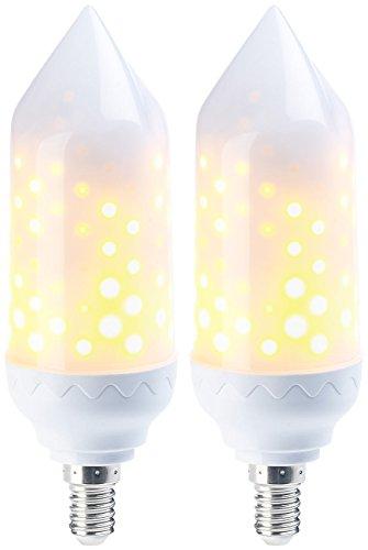 Luminea E14-Flammenlampe: 2er-Pack LED-Flammen-Lampe mit realistischem Flackern (LED-Flammen-Lampen (E14))