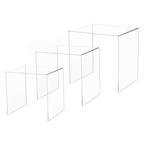 HOMCOM Beistelltisch 3er-Set Couchtisch Satztisch Sofatisch Glastisch klar Acrylglas 32 x 30 x 24 cm/35 x 30 x 28 cm/38 x 30 x 32 cm
