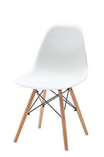 White Loft LF430 Set di 4 Sedie, Legno, Bianco, 47x54x83 cm