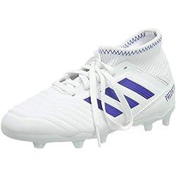 adidas Predator 19.3 FG J, Zapatillas de Fútbol para Niños, Blanco (Footwear White/Bold Blue/Bold Blue 0), 38 2/3 EU