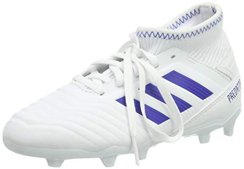 Adidas predator 19.3 fg j, scarpe da calcio bambini e ragazzi, bianco ftwr white bold blue, 38 2/3 eu