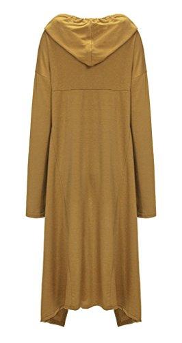 Bigood Robe Pull Long Capuche Sweat-shirt Femme T-shirt Top Manche Longue Casual Mode Jaune