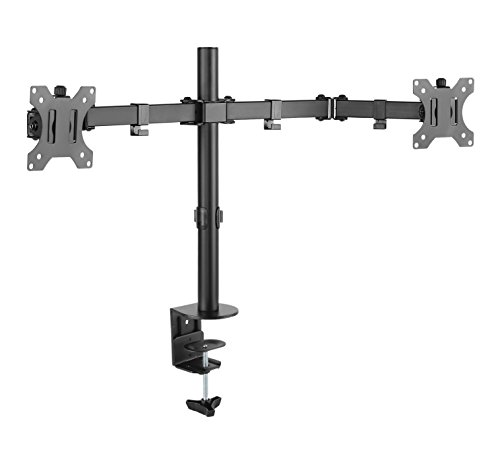 Monitorhalter Tischhalterung Standfuß für 2x Monitore LCD LED TV Bildschirme Flachbildschirm Plasma - 360 Grad Drehung und Schwenkung +/-15 Grad Neigungsverstellung - Vollständig Einstellbar - Doppel -