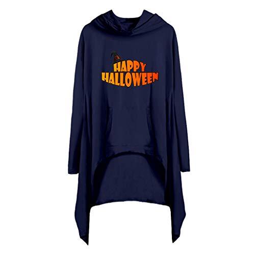 Subfamily Halloween Kostüm Damen Bedruckte Pulloverkleider mit Kapuze und Tasche Curved Saum Mini Kleider Sport Freizeit Locker Coole Klamotten Mädchen (M, Marine 1404) (Baby Opa Kostüm)