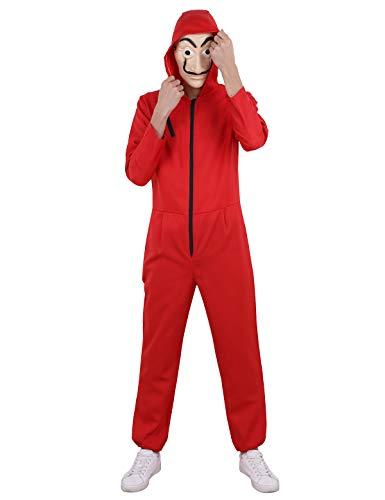Agoky Unisex Overall und Maske Das Haus des Geldes Bankräuber Kostüm Set Jumpsuit Cosplay Kostüm für Männer Frauen Halloween Karneval Kostüm Verkleidung Rot S(Brust 100cm)