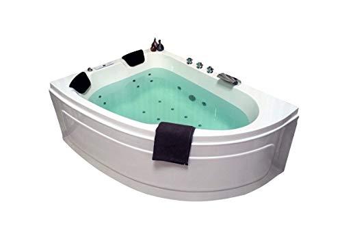 Doppel Whirlpool Badewanne Titan MADE IN GERMANY 180 x 130 cm mit 25 Massage Düsen + LED Beleuchtung / Licht + Heizung + Ozon Desinfektion + Balboa / DHW + OHNE Armaturen Eckwanne rechts oder links
