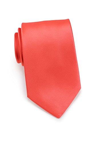 Puccini Krawatte Herren, Einfarbig, 39 verschiedene Farben, Satin-Glanz, Mikrofaser, 8,5 cm, Handarbeit, Hochzeit - Alltag - Büro (Koralle)
