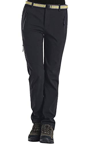 HAINES Outdoorhose Damen Wanderhose Wasserdicht Softshellhose Gefüttert Hose Winter Trekkinghose Funktionshose, Stil 5:Schwarz, Gr. EU-S/Asia-XL