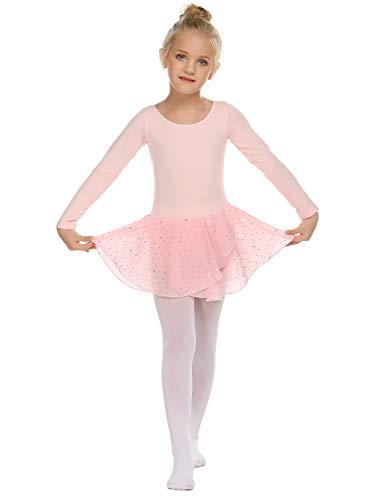 Trudge Mädchen Ballettkleidung Ballettkleid Kinder Langarm Baumwolle Balletttrikot Ballettanzug Tanzkleid Tanzbody mit Rock Tütü, A Rosa, 130 / 4-5 Jahre -