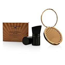 Laura Geller Baked Impressions Water Resistant Matte Bronzer With Mini Retractable Kabuki Brush -  Medium- 8.9g/0.31oz