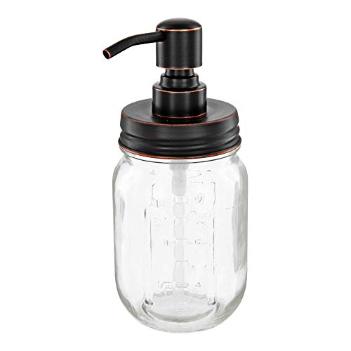 Vintage-Dispensador de jabón Mason Jar con Cabeza de Acero Inoxidable Pump, Acero Inoxidable, Schwarz mit Kupfer Öl-schliff