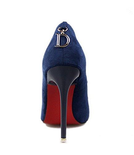 Wealsex Escarpins Suédé PU Cuir Bout Pointu Talon avec D Boucle Talon Aiguille 11 CM Sexy Mode Simple Femme Bleu