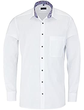 ETERNA Comfort Fit Hemd Langarm New Kent Kragen mit Patch weiß