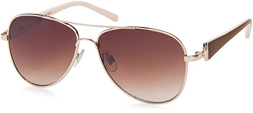 styleBREAKER elegante Damen Pilotenbrille getönt, Sonnenbrille mit lackierten Bügeln und Strassstein 09020053, Farbe:Gestell Gold-Dunkelbraun/Glas Braun verlaufend