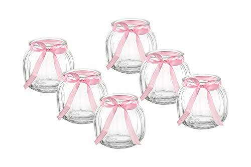 casa-vetro 12 x Kleine Deko-Vase Schleife Weiss oder rosa Teelichtgläser Tisch-vasen Dekoration Windlicht Teelicht-Gläser Hochzeit Party Set Flasche Glas klar (12 x Rosa Schleife)