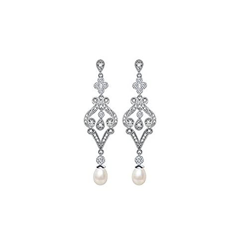 MASOP Pearl Drop Dangle Earrings White Gold Plated With Cubic